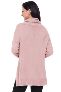 Pinkish Causal Knit High Neck Loose Sweater