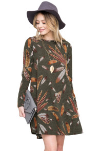 Olive Feather Graphic Pocket Tunic Dress