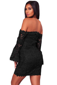 Black Crochet Overlay Off The Shoulder Fitted Mini Dress