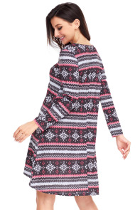 Geometric Snowflake Black Red Long Sleeve Christmas Dress