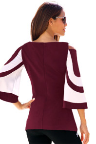 Burgundy White Colorblock Bell Sleeve Cold Shoulder Top