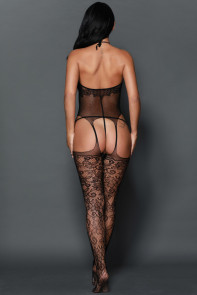 Black Lace Sheer Hollow Out Fishnet Body Stocking