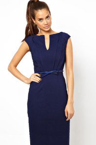 Blue Pencil Midi Dress with Belt