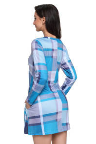 Blue Gray Plaid Mini Dress