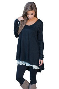 Black Swingy Lace Layered Long Sleeve Tunic