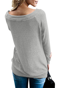 Gray Women's Off Shoulder Tunic Top