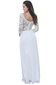 White Lace Crochet Quarter Sleeve Maxi Dress