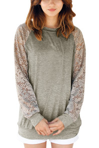Lace Raglan Sleeve Grey Casual Sweatshirt