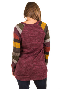 Multicolor Long Sleeve Heathered Magenta Sweatshirt