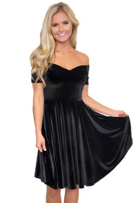 Black Velvet Off Shoulder Pleated Midi Dress