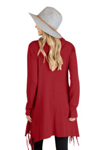Burgundy Cowl Neck Fringe Tunic