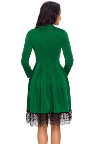 Lace Hemline Detail Green Long Sleeve Skater Dress