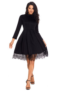 Lace Hemline Detail Black Long Sleeve Skater Dress