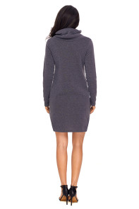 Grey Drawstring Cowl Neck Sweatshirt Dress