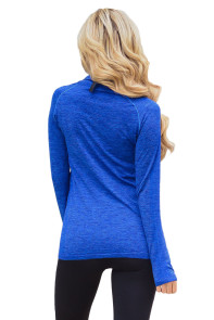 Royal Blue Zip up Long Sleeve Gym Yoga Top