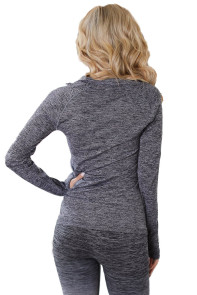 Gray Zip up Long Sleeve Gym Yoga Top