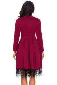 Lace Hemline Detail Burgundy Long Sleeve Skater Dress
