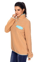 Khaki Stand Collar Buttons Fleece Pullover Top