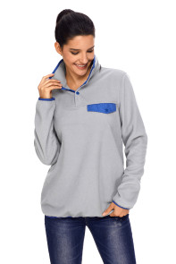 Gray Stand Collar Buttons Fleece Pullover Top
