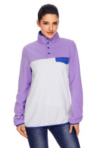 Purple Stand Collar Buttons Fleece Pullover Top