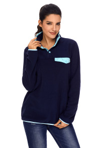 Blue Stand Collar Buttons Fleece Pullover Top