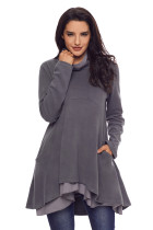 Cowl Neck Patchwork Grey Loose Fit Sweatshirt