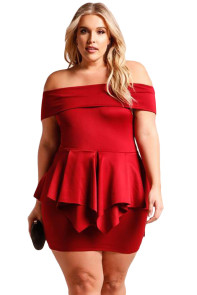 Red Plus Size Fold Over Off Shoulder Peplum Dress
