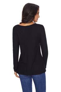Women's V Neck Buttoned Black Tunic