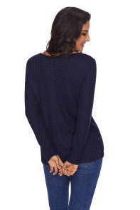 Women's V Neck Buttoned Blue Tunic
