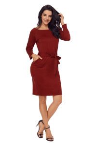 Burgundy Roll-tab Long Sleeve Tie Waist Midi Dress