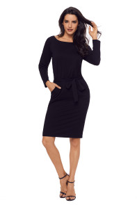 Black Roll-tab Long Sleeve Tie Waist Midi Dress