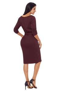 Coffee Roll-tab Long Sleeve Tie Waist Midi Dress