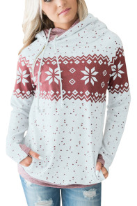White Double Hood Snowfall Print Sweatshirt