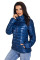 Blue High Neck Quilted Cotton Jacket