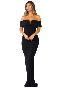 Black Social Event Red Carpet Off-shoulder Party Evening Dress