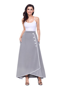 Grey Piped Button Embellished High Waist Maxi Skirt