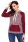 Purplish Red Lace Accent Kangaroo Pocket Hoodie