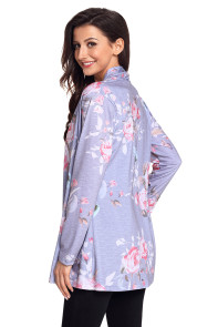 Grey Floral Print Lightweight Cardigan