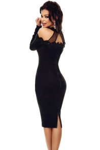 Black Crochet Applique Mesh Insert Cold Shoulder Dress