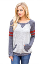 Contrast Stripes Gray Sleeves Women's Blouse