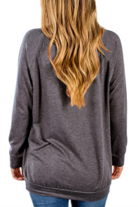 Dark Gray Contrast Stripes Pullover Sweatshirt