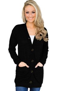 Black Lightweight Knit Button Down Cardigan