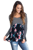 Navy Blue Floral Striped Babydoll Tunic