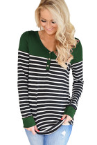 Green Color Block Striped Bodice Top