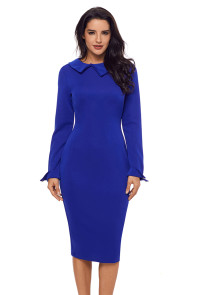 Blue Lapel Neck Bodycon Formal Office Dress Pencil Dress