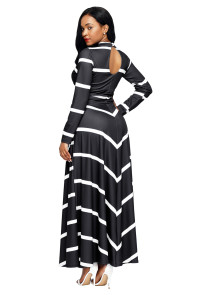 Black Striped V Neck Long Sleeve Maxi Dress