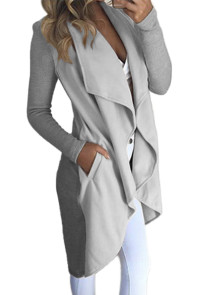 Grey Lapel Collar Irregular Hem Knit Trench Coat