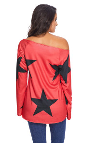 Red Long Sleeve Star Bright T-shirt