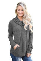 Charcoal Drawstring Cowl Neck Sweatshirt