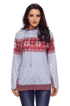 Gray Double Hood Snowfall Print Sweatshirt